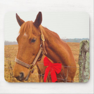 Brown horse Red Bow Mouse Pads