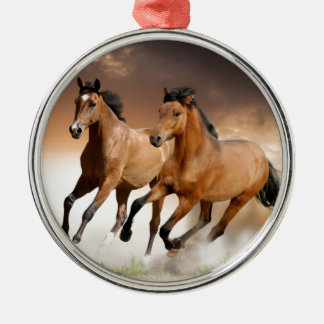 Brown Horse run - freedom Metal Ornament