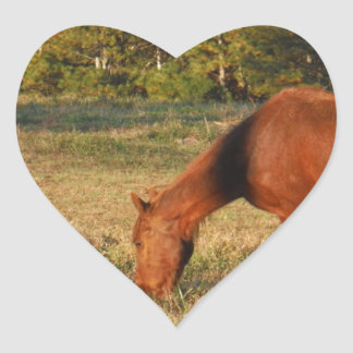 Brown Horse with Pine Trees Heart Sticker