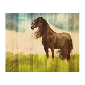 Brown Horse Wood Panel