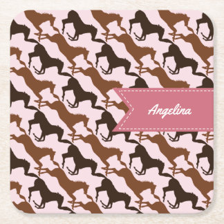 Brown Horses on Pink Square Paper Coaster