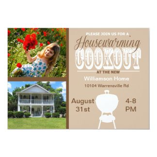 Brown Housewarming Cookout Invitation