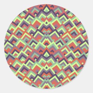 Brown Hues Zigzag Symmetric Peeks Pattern Round Sticker