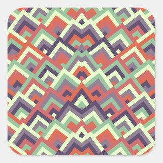 Brown Hues Zigzag Symmetric Peeks Pattern Square Sticker
