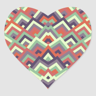 Brown Hues Zigzag Symmetric Peeks Pattern Heart Sticker