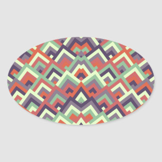 Brown Hues Zigzag Symmetric Peeks Pattern Oval Sticker
