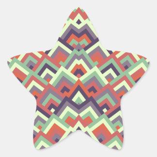 Brown Hues Zigzag Symmetric Peeks Pattern Star Stickers