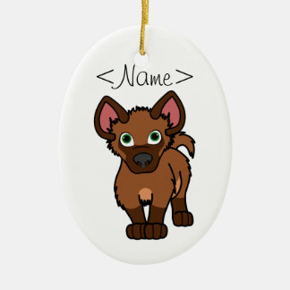 Brown Hyena Cub Ceramic Ornament
