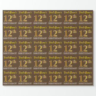 "Brown, Imitation Gold Look ""12th BIRTHDAY"" Wrapping Paper"