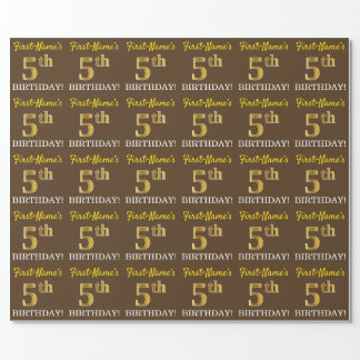 """Brown, Imitation Gold Look """"5th BIRTHDAY"""" Wrapping Paper"""