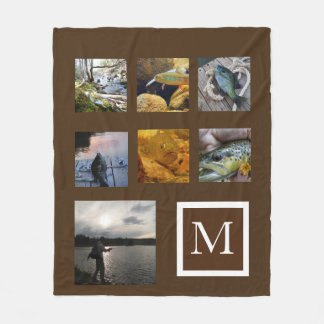 brown Instagram  pictures custom collage monogram Fleece Blanket