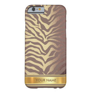 Brown Ivory Zebra Skin Gold Glam Barely There iPhone 6 Case