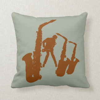 Brown Jazz Sax Saxophonist Jazzman Pillow