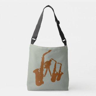 Brown Jazz Sax Silhouette Jazzman Bag