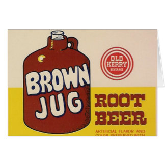 brown jug rootbeer label greeting card