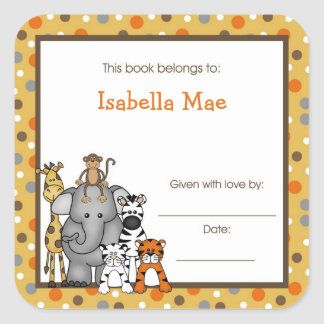 Brown Jungle Animals Book Plate bookplate label Square Sticker