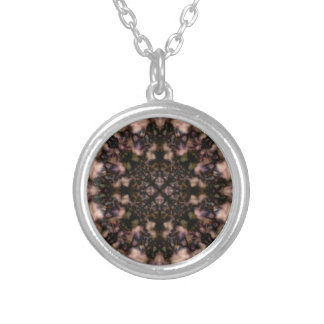 Brown kaleidoscope pattern silver plated necklace