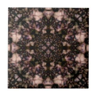 Brown kaleidoscope pattern small square tile