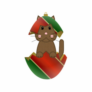 Brown Kitty In A Christmas Ornament Photo Cut Outs
