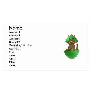 Brown Kitty In A Green Christmas Ornament Business Card Templates