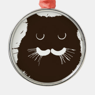 Brown Kitty Kitten Silver-Colored Round Decoration
