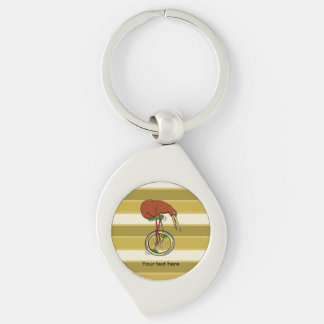 Brown Kiwi Riding On A Unicycle Key Ring