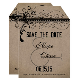 Brown Kraft Paper Wedding Save the Date Card