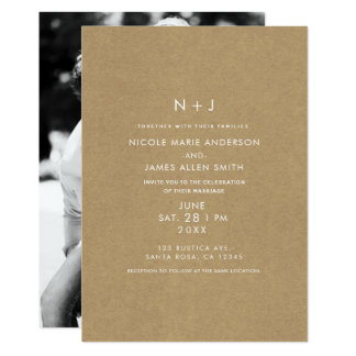 Brown Kraft Rustic Minimal Modern Photo Wedding Card