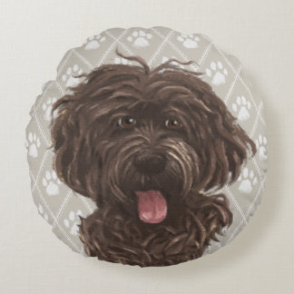Brown Labradoodle Dog Paintings / Labradoodle Love Round Cushion