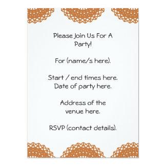 Brown Lace Pattern Design. 17 Cm X 22 Cm Invitation Card