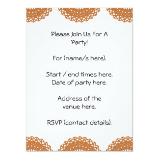 Brown Lace Pattern Design. 17 Cm X 22 Cm Invitation Card