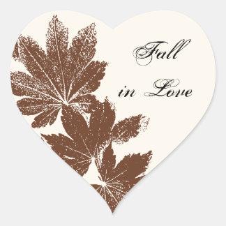 Brown Leaf Stamp Fall in Love Wedding Heart Sticker