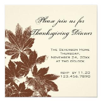 Brown Leaf Stamp Thanksgiving Dinner 13 Cm X 13 Cm Square Invitation Card