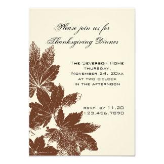 Brown Leaf Stamp Thanksgiving Dinner 13 Cm X 18 Cm Invitation Card
