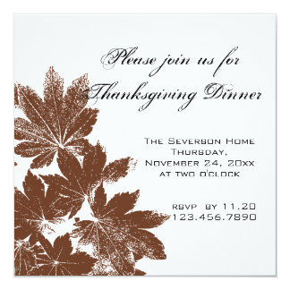 Brown Leaf Stamp Thanksgiving Dinner Invitation