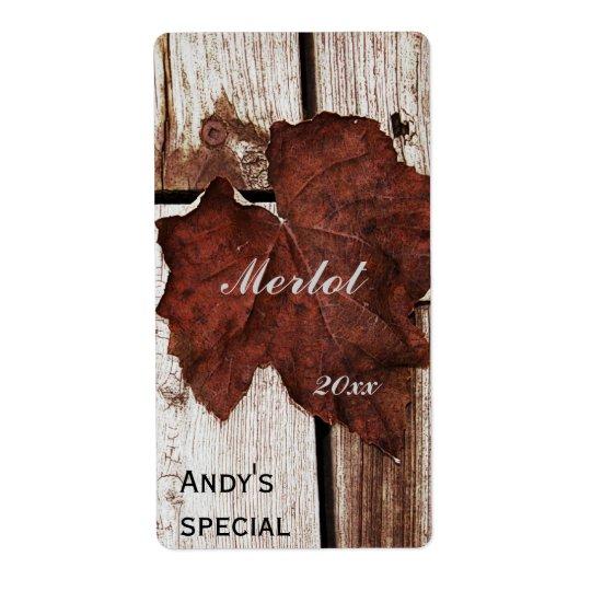 brown leaf wine label