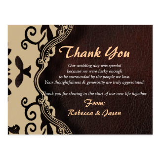 brown leather damask country wedding thank you postcard