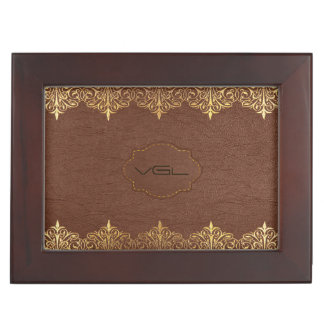 Brown Leather & Gold Foil Floral Border Keepsake Box