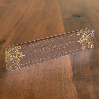 Brown Leather Gold Foil Lace Frame Nameplate
