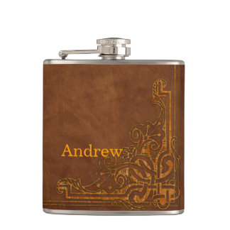 Brown Leather-like Graphic Embossed Monogram Hip Flask