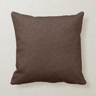 Brown Leather Look Throw Pillow