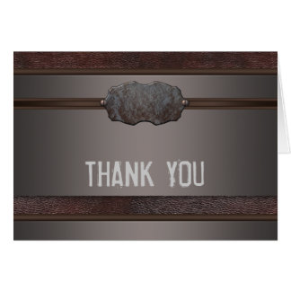 Brown Leather Metal Brown Thank You Cards