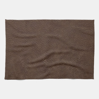 Brown Leather Print Texture Pattern Tea Towel