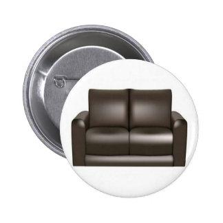Brown leather sofa design button