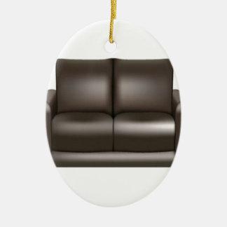 Brown leather sofa design ceramic ornament