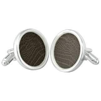 Brown Leather Texture Cuff Links