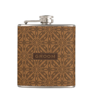 Brown Leather Texture Groom Design Hip Flask