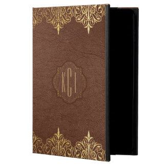 Brown Leather With Gold Swirls Accents Powis iPad Air 2 Case