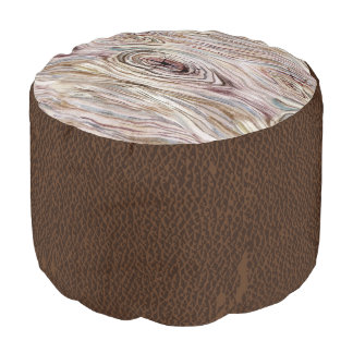 Brown leather & Wood Bark Pouf