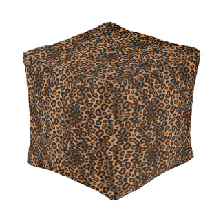 Brown Leopard Animal Skin Print Pouf